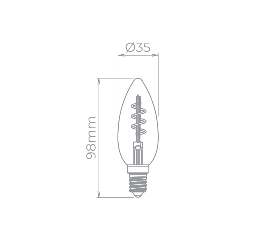 Lâmpada Led Stella STH8382/24 Vela Lisa Filamento Vintage Espiral E14 2,5W 2400K 300G 220V