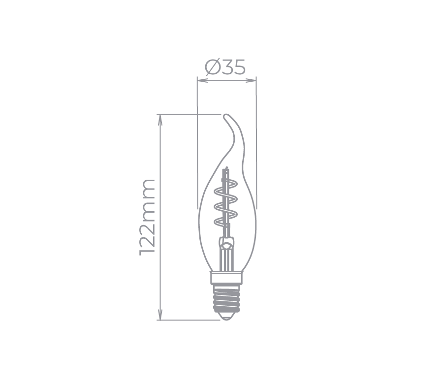 Lâmpada Led Stella STH8391/24 Vela Chama Filamento Vintage Espiral E14 2,5W 2400K 300G 127V