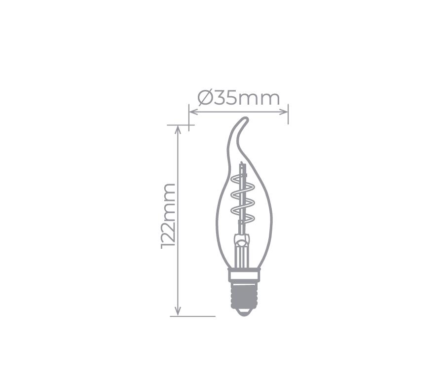 Lâmpada Led Stella STH8393/24 Vela Chama Filamento Espiral E14 2,5W 2400K 300G 127V