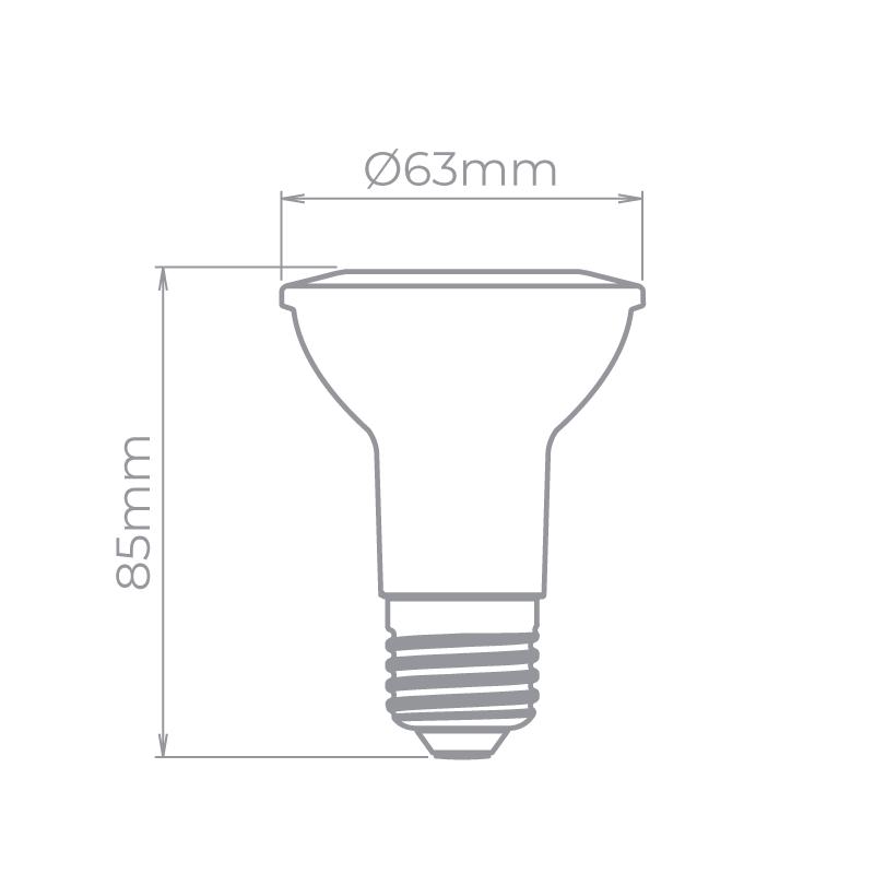 Lâmpada Stella STH20020/30 Evo PAR20 E27 5,5W 3000K 25G Bivolt Ø63x85mm