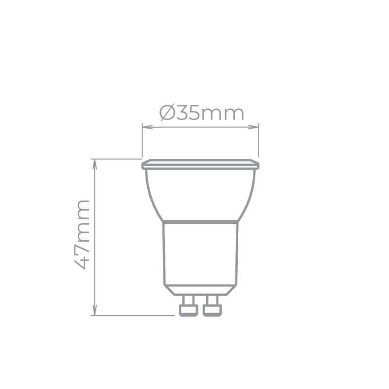 Lâmpada Stella STH20513/40 Evo Mini Dicróica GU10 3W 4000K 36G Bivolt Ø35x47mm