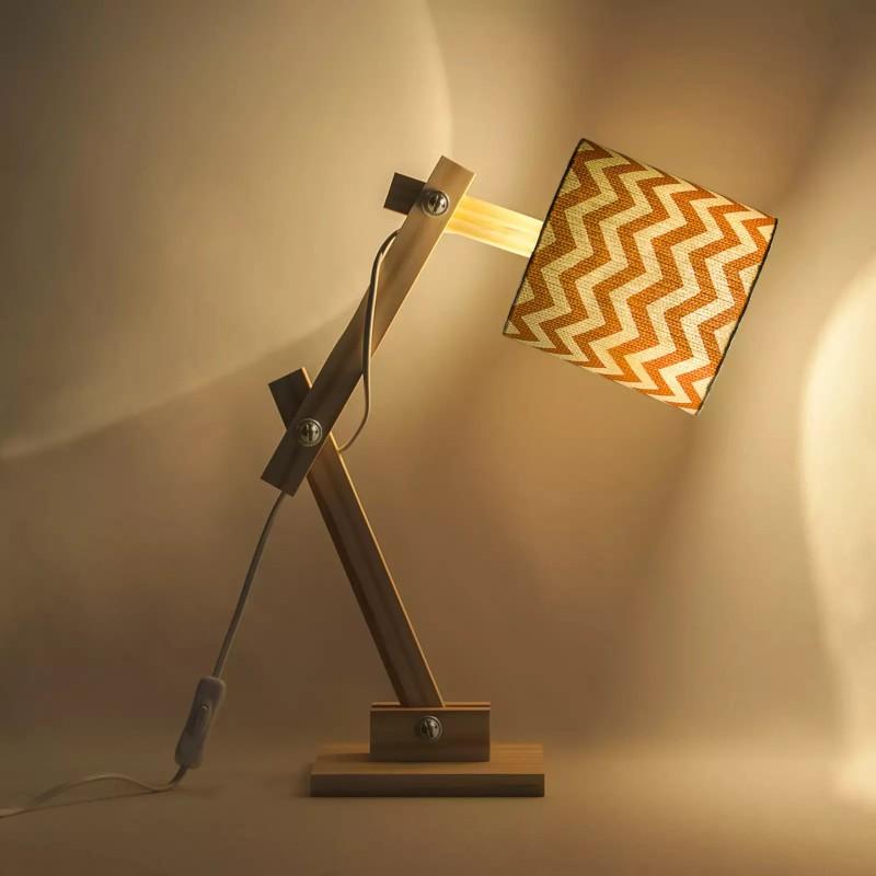 Luminária Articulada Carambola LARTCM Chevron 1L E27 Bivolt 400x150x370mm Marrom