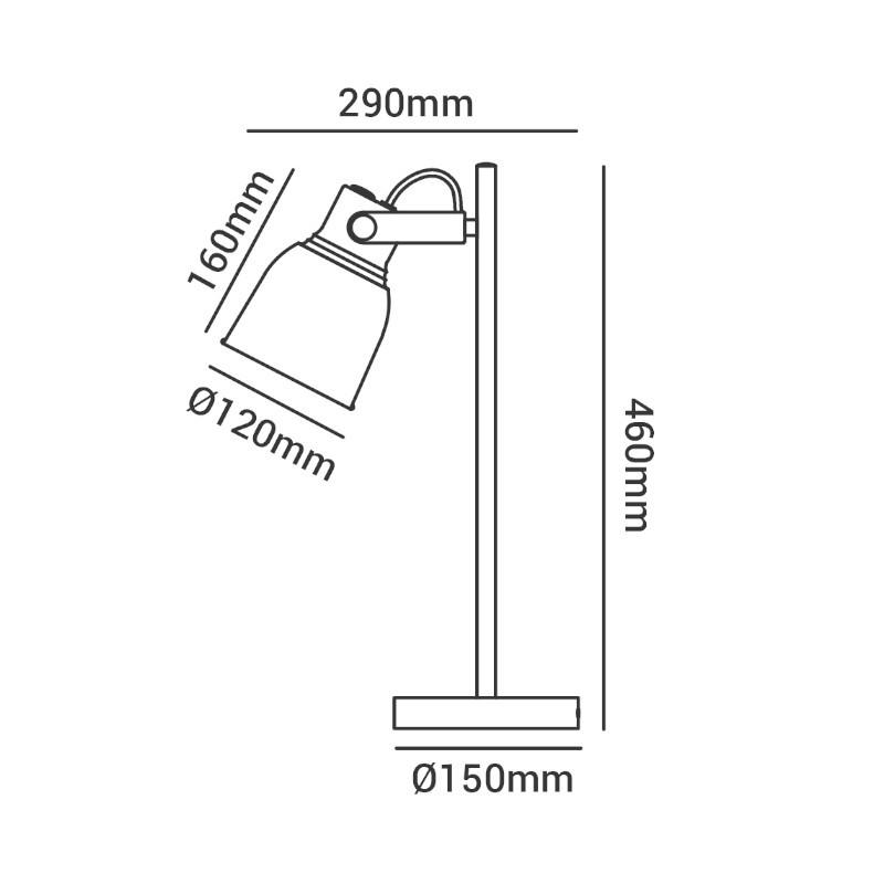 Luminária de Mesa LED Opus DN37509 Pixar 1L E27 IP20 Ø150x460x290mm Branco/Rose