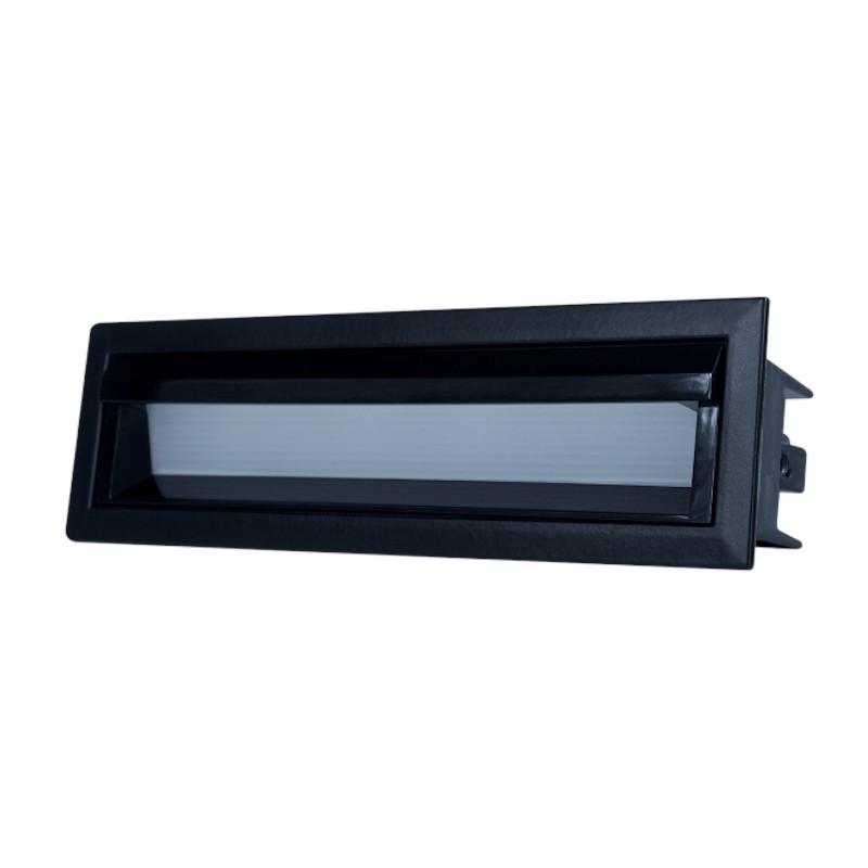 Luminária Embutir LED Brilia 303720 Wall Washer Linear Defletora 10W 2700K 30G Bivolt 159x45x68mm - Preto