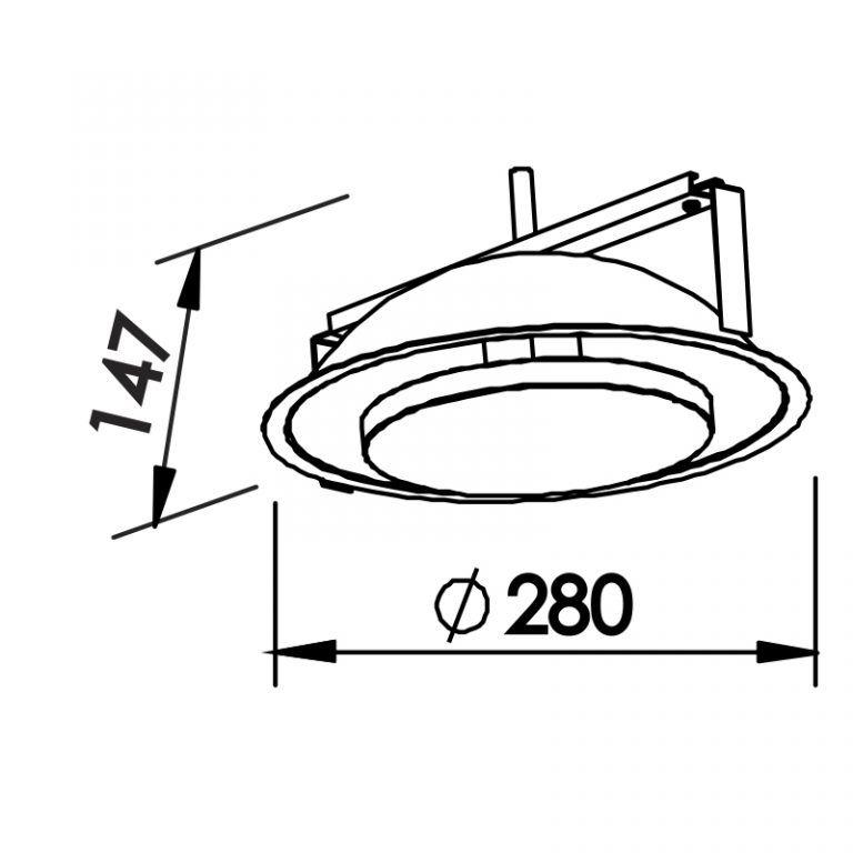 Luminária Embutir LED Newline 440LED1 Iris 18W 2700K 127V Ø280x147mm