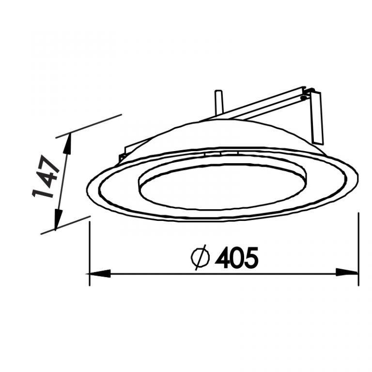 Luminária Embutir LED Newline 441LED2 Iris 24W 2700K 220V Ø405x147mm