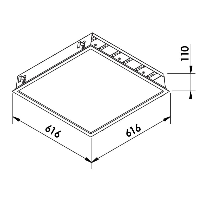 Luminária Embutir LED Newline 603LED4 Flat II 96W 4000K Bivolt 616x616x110mm