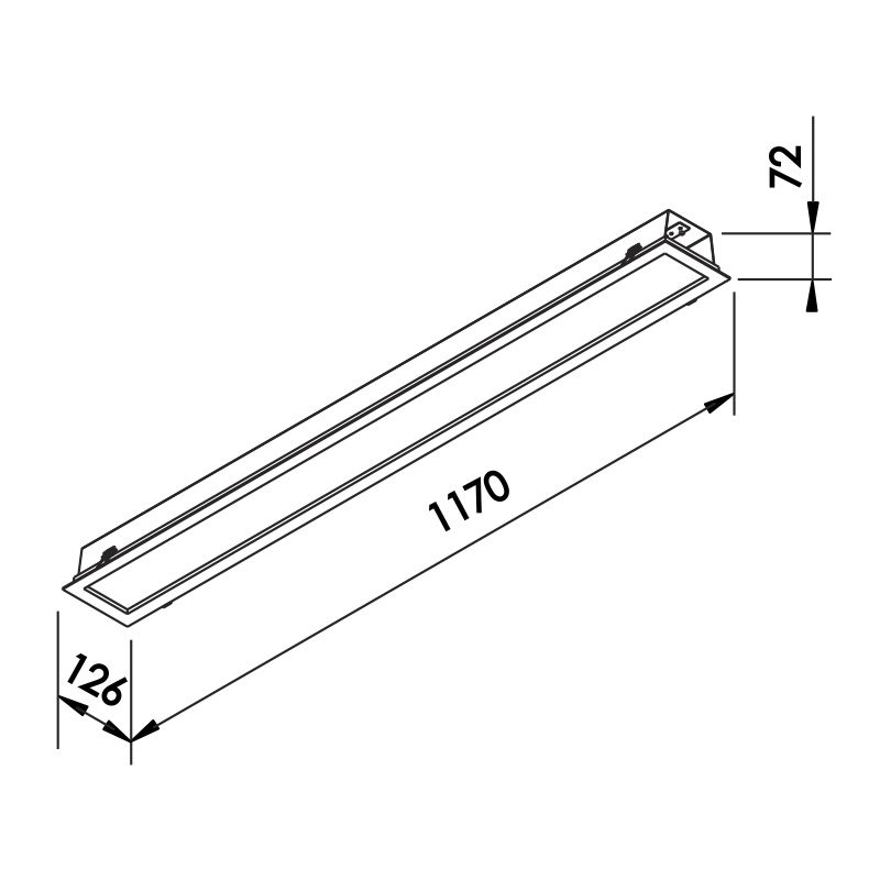Luminária Embutir LED Newline 606LED3 Flat II 32W 3000K Bivolt 1170x126x72mm