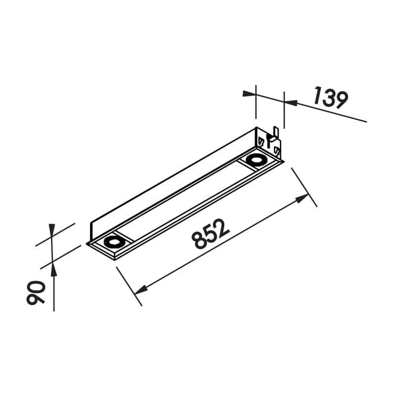 Luminária Embutir Newline IN50231 Slim II 2L G13 T8 + 2L Dicróica/PAR16 GU10 139x852x90mm