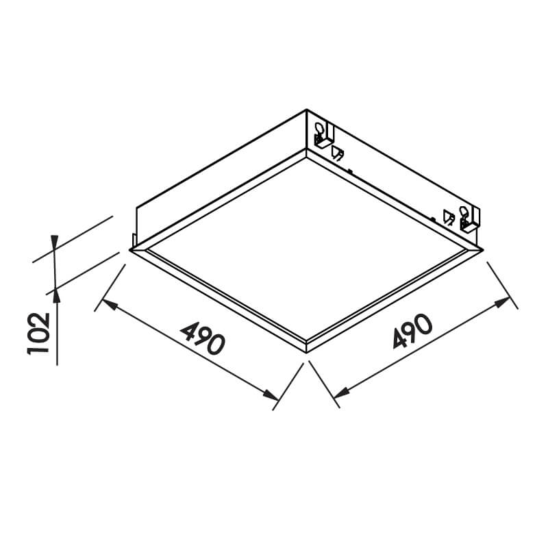 Luminária Embutir Newline IN8003 Flat 8L E27 490x490x102mm