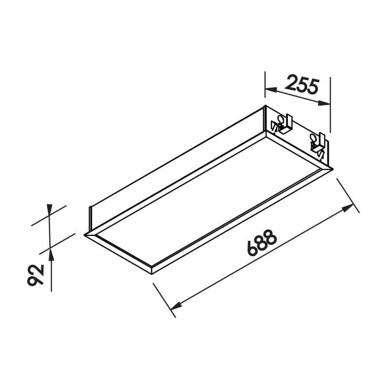 Luminária Embutir Newline IN8008 Flat 4L Tubular T8 G13 688x255x92mm