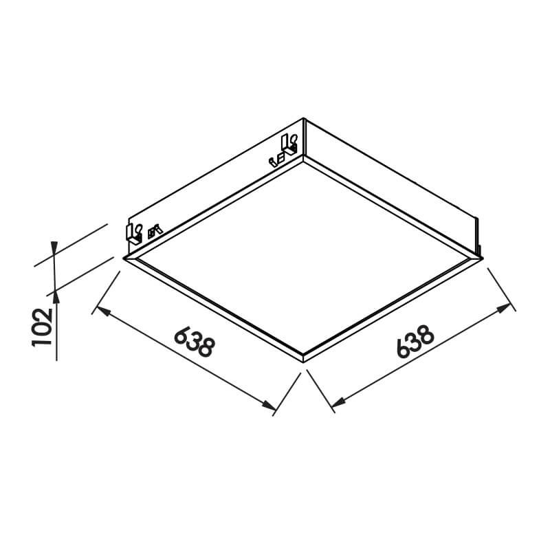 Luminária Embutir Newline IN8012A Flat 4L Tubular T8 G13 638x638x120mm