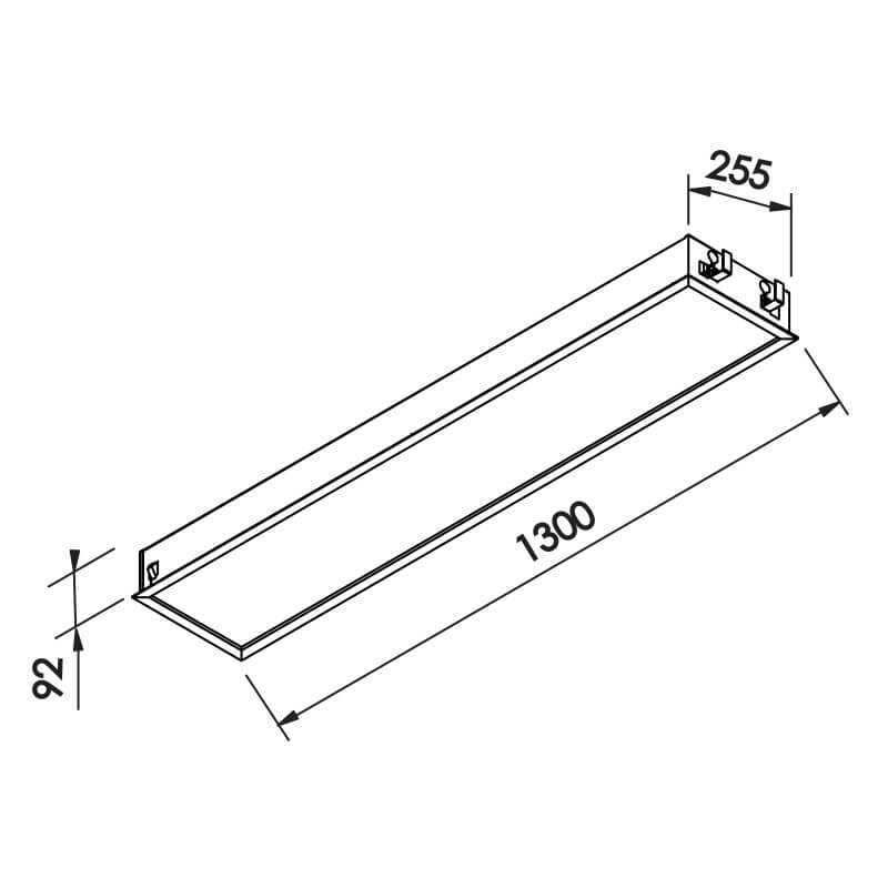 Luminária Embutir Newline IN8017 Flat 4L Tubular T8 G13 1300x255x92mm