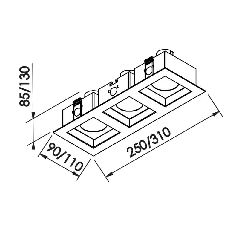 Luminária Embutir Spot Newline IN65032 Flat 3L Dicróica/PAR16 GU10 90x250x85mm