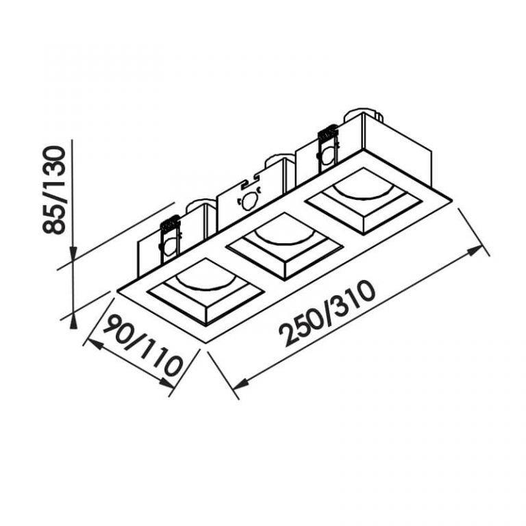 Luminária Embutir Spot Newline IN65033 Flat 3L PAR20 E27 110x310x130mm