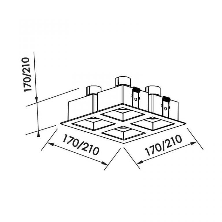 Luminária Embutir Spot Newline IN65042 Flat 4L Dicróica/PAR16 GU10 170x170x85mm