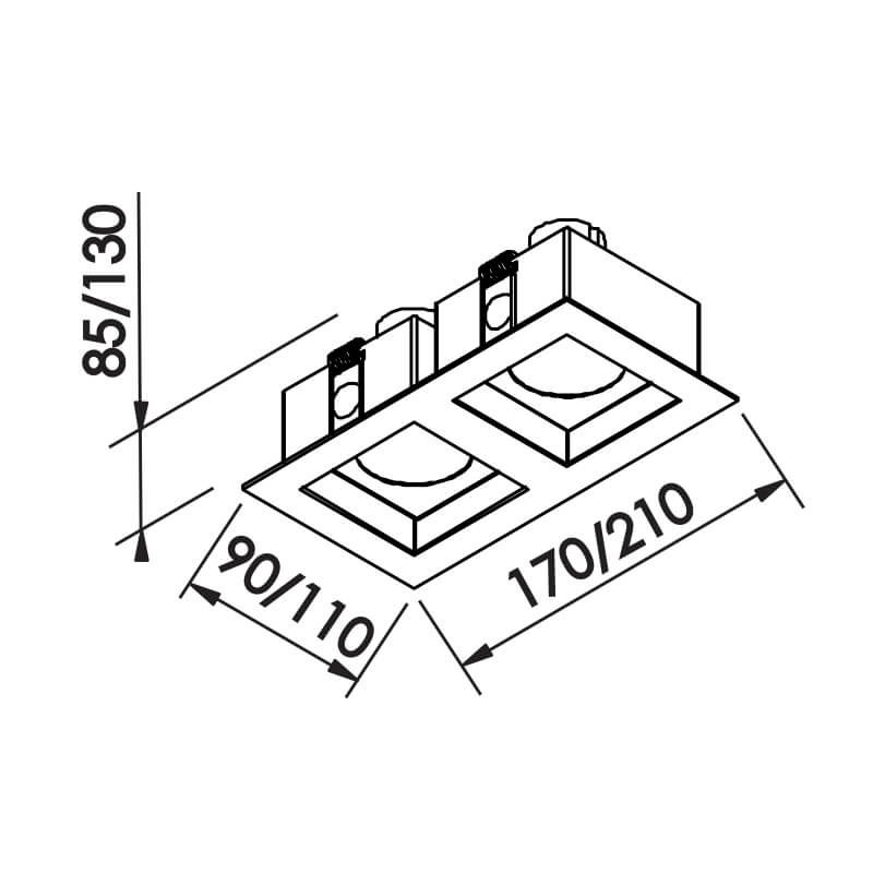 Luminária Embutir Spot Newline IN65124 FLAT 2 AR70 GU10 210x110x85mm