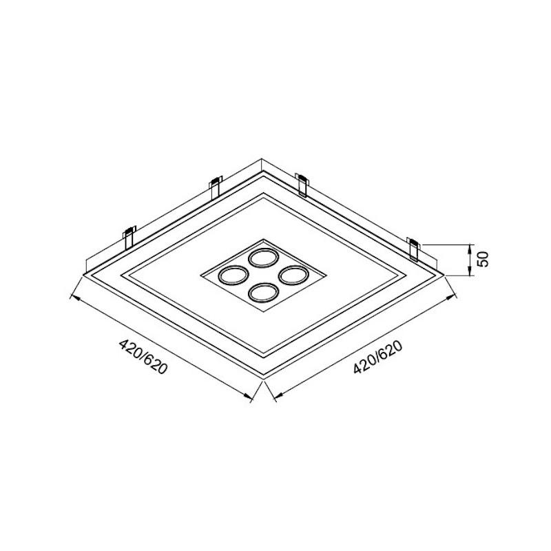 Luminária Embutir Usina 19202/62LED3 Bore Pro Led Integrado 49,2W 3000K 4L PAR20 Bivolt 620x620x110mm