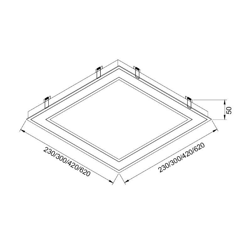 Luminária Embutir Usina 19220/30LED3 Covert Pro Led Integrado 24,4W 3000K Bivolt 300x300x50mm