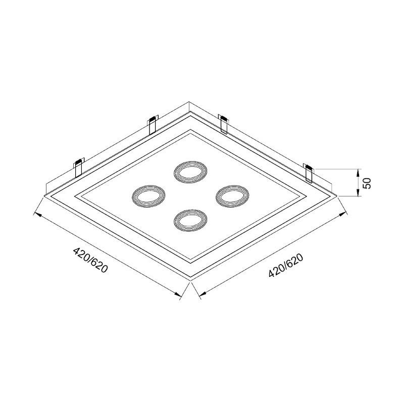 Luminária Embutir Usina 19233/42LED3 Scala Pro Led Integrado 36,8W 3000K 4L AR70 Bivolt 420x420x90mm