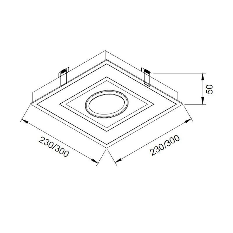 Luminária Embutir Usina 19253/23LED4 Premium Pro Led Integrado 16,4W 4000K 1L AR70 Bivolt 230x230x50mm