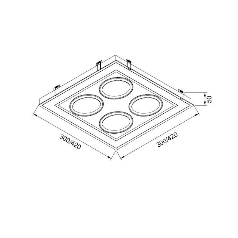 Luminária Embutir Usina 19253/42LED4 Premium Pro Led Integrado 36,8W 4000K 4L AR70 Bivolt 420x420x50mm