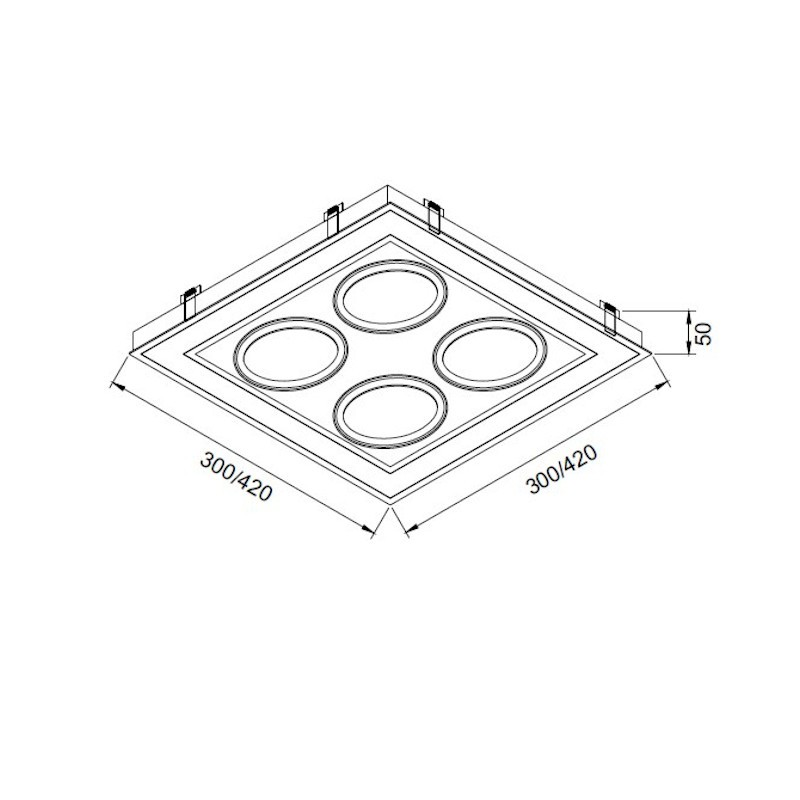 Luminária Embutir Usina 19255/42LED3 Premium Pro Led Integrado 36,8W 3000K 4L AR111 Bivolt 420x420x50mm