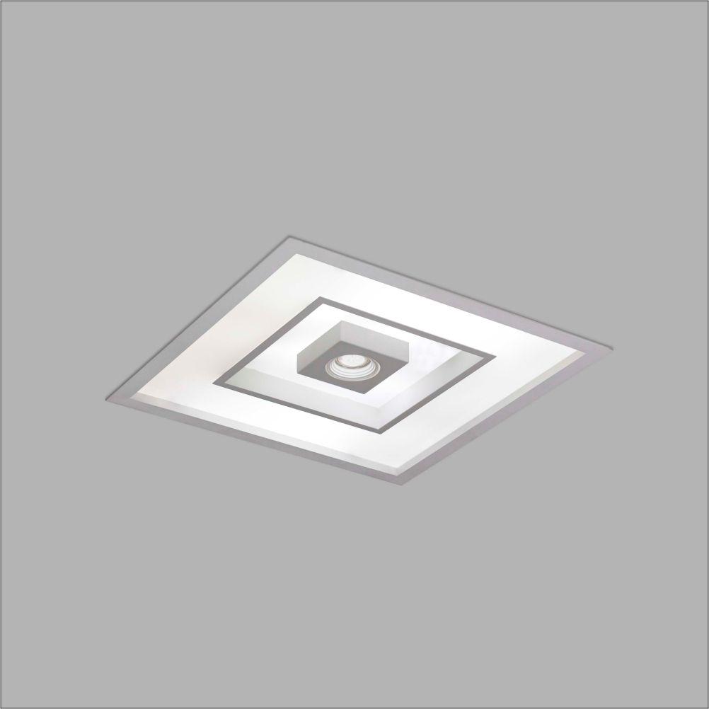 Luminária Embutir Usina 4552/32 Focus Quadrado C/ Aba 4L E27 + 1L Dicróica/PAR16 GU10 320x320x100mm