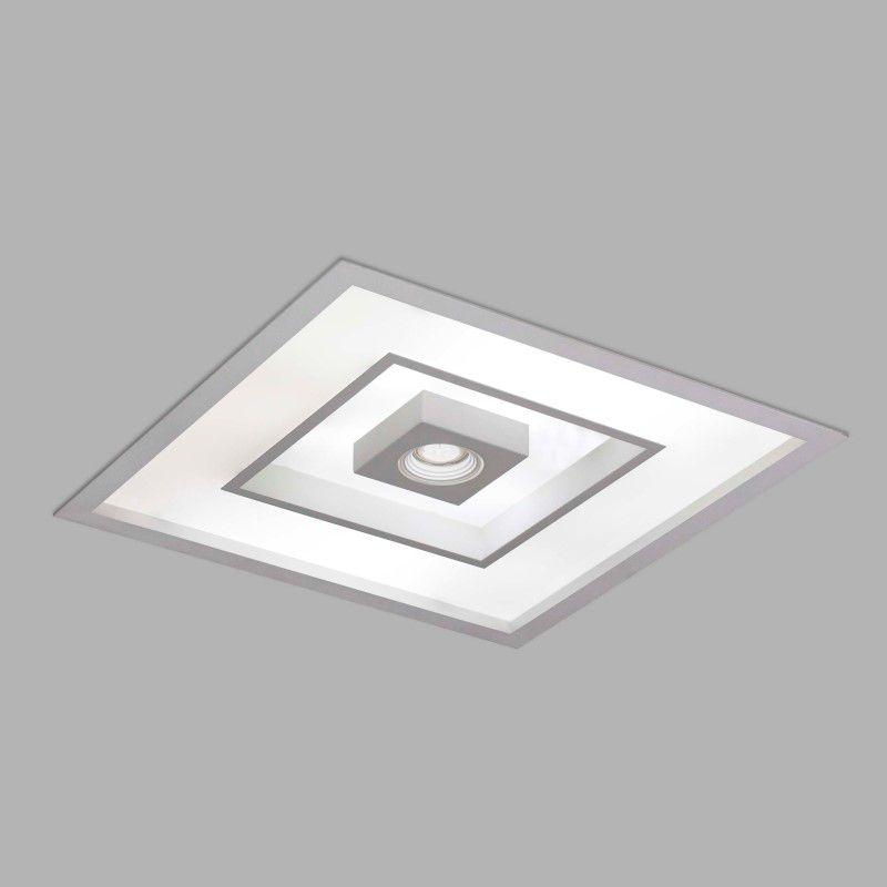 Luminária Embutir Usina 4552/50 Focus Quadrado C/ Aba 8L E27 + 1L Dicróica/PAR16 GU10 500x500x100mm