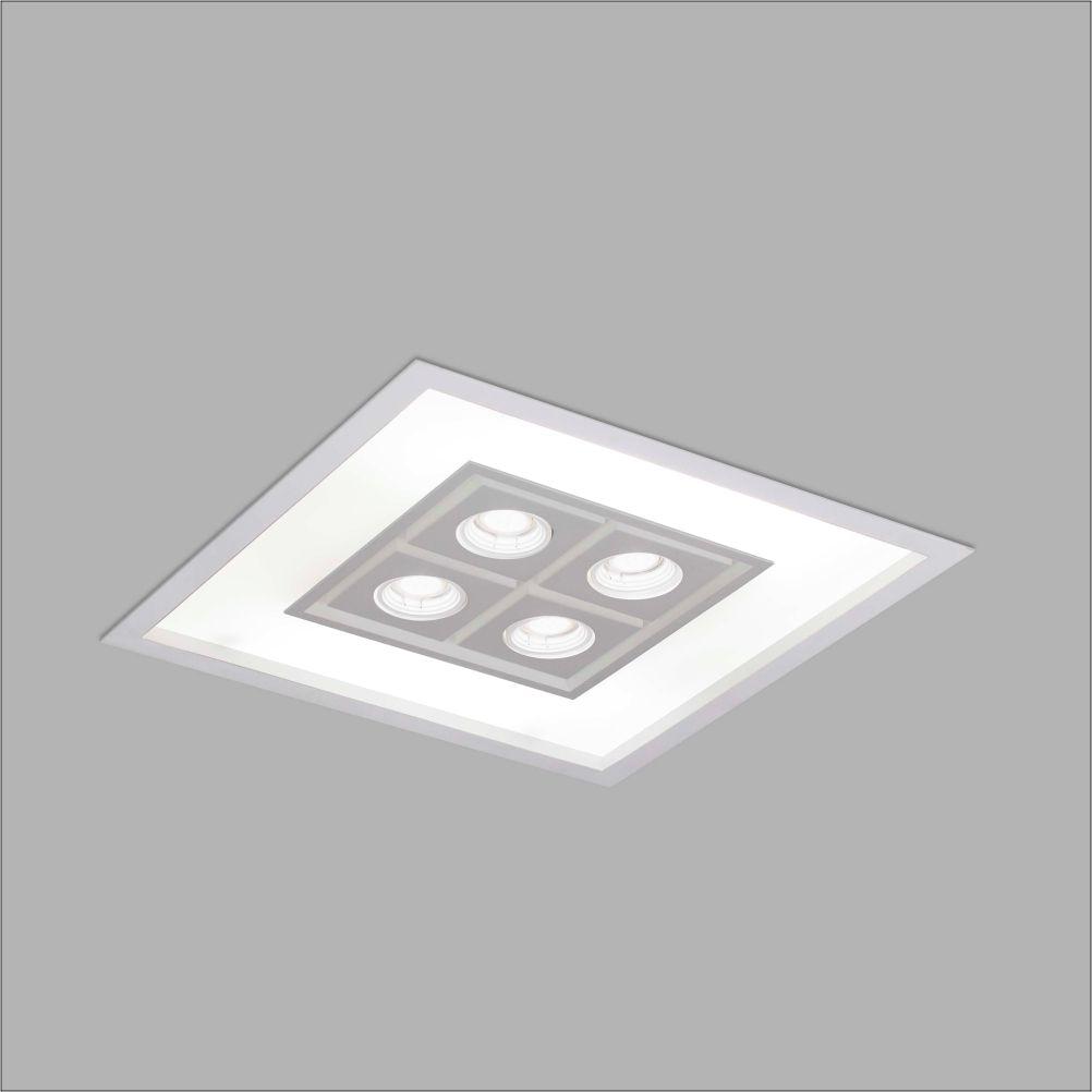 Luminária Embutir Usina 4553/50 Focus Quadrado C/ Aba 8L E27 + 4L Dicróica/PAR16 GU10 500x500x100mm