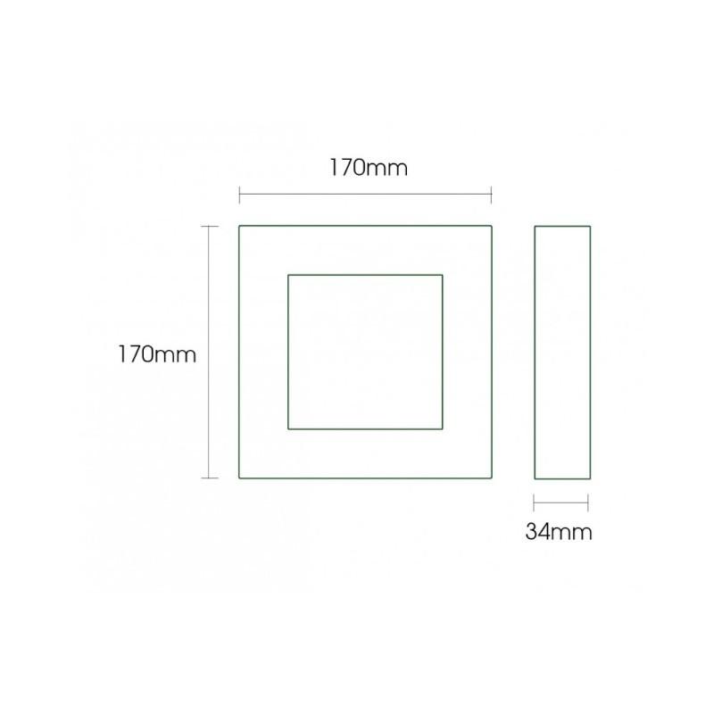 Luminária Sobrepor LED Ecoforce 17292 Quadrado 12W 3000K IP20 Bivolt 170x170x34mm