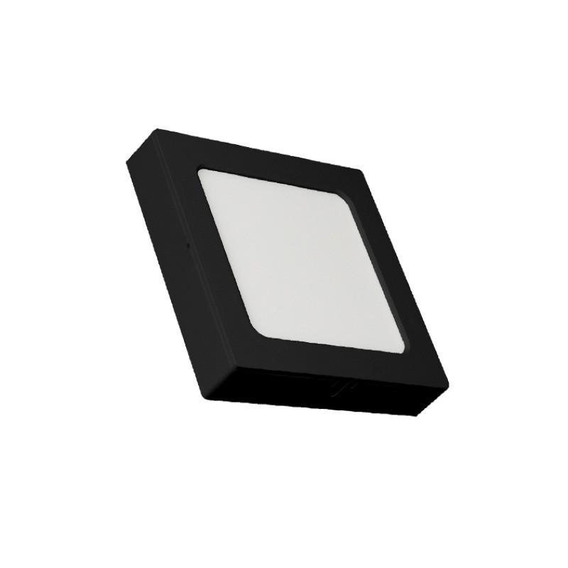 Luminária Sobrepor LED Ecoforce 18344 Quadrado 12W 6500K IP20 Bivolt 170x170x34mm Preto