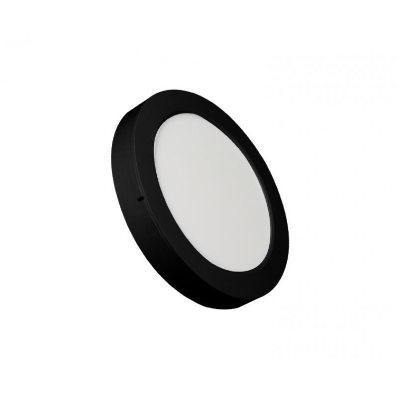 Luminária Sobrepor LED Ecoforce 18349 Redondo 18W 3000K IP20 Bivolt Ø225x34mm Preto