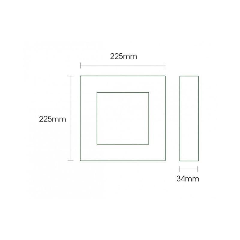 Luminária Sobrepor LED Ecoforce 18353 Quadrado 18W 3000K IP20 Bivolt 225x225x34mm Preto