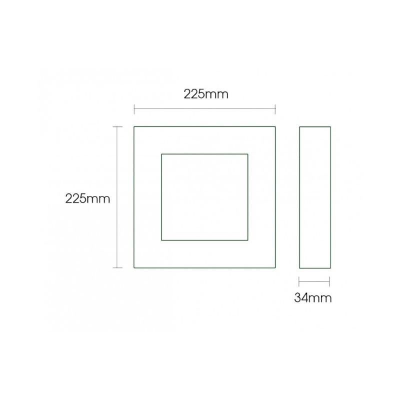Luminária Sobrepor LED Ecoforce 18454 Quadrado Dimerizável 22W Bivolt IP20 295x295x34mm