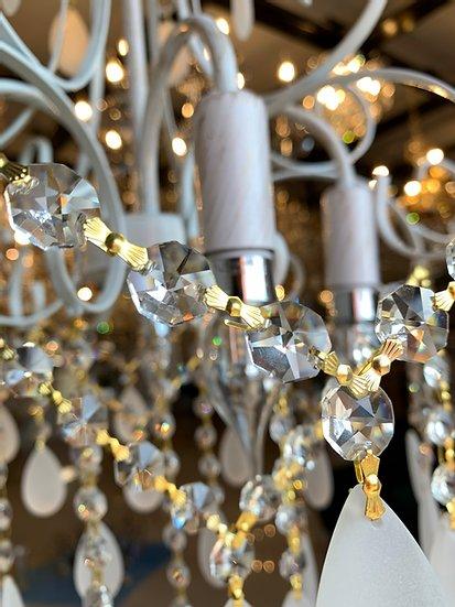Lustre Tupiara 9-5204-BO-FS Malipiero Chic 4L E14 Ø520x560mm Branco/Ouro Jateado/Cristal Fosco