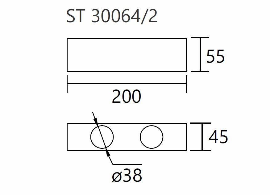 Módulo Externo para Perfil Linear 30064/2 C Jotha P/ 2 Mini GU10 MR11 200x45x55mm