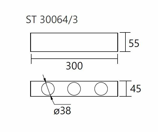 Módulo Externo para Perfil Linear 30064/3 C Jotha P/ 3 Mini GU10  MR11 300x45x55mm