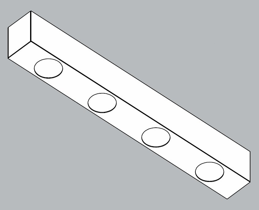 Módulo Externo para Perfil Linear 30064/4 C Jotha P/ 4 Mini GU10 MR11 400x45x55mm
