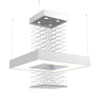 Pendente Accord 1245 Anel Quadrado Cristais Fita Led + 4L Gu10 800X800X970mm