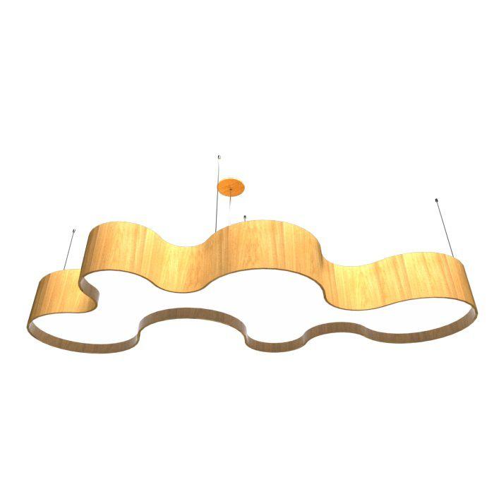 Pendente Madeira Accord 1258 Orgânico Nuvem 14L E27 2000x850x200mm