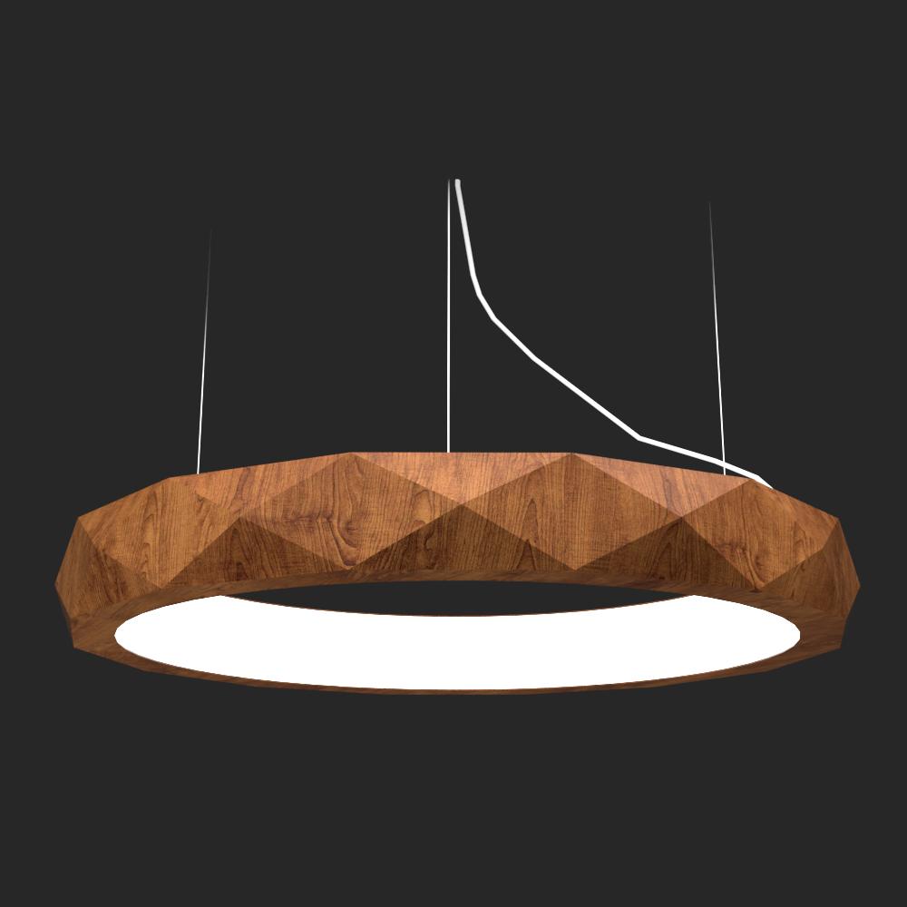 Pendente Madeira Accord 1357 Anel Facetado LED 36W 2700K Bivolt Ø600X120mm