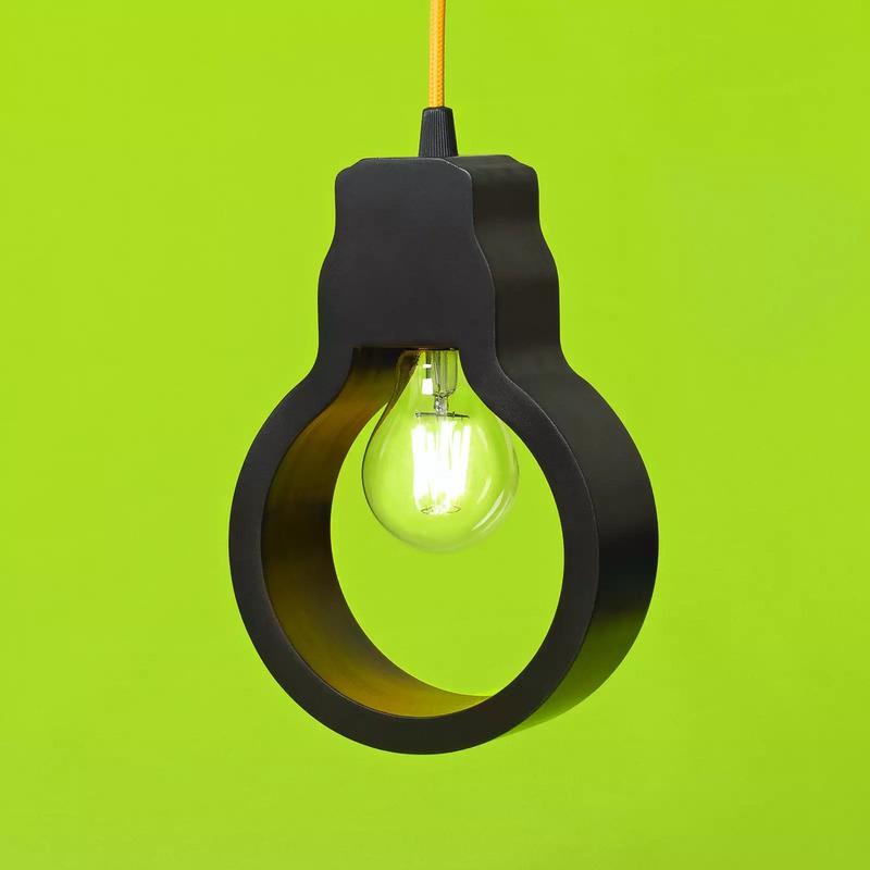 Pendente Carambola PLT Light 1L E27 Bivolt 220x150x60mm Preto