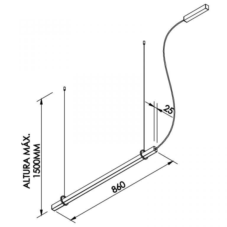 Pendente LED Newline 661LED3 Fit 24W 3000K Bivolt 860x25x28mm