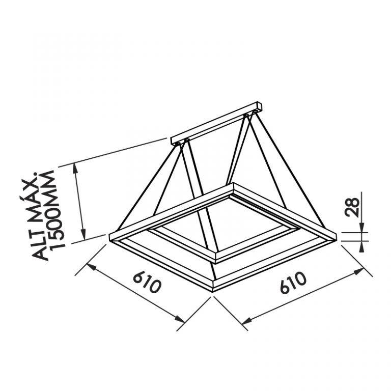 Pendente LED Newline 746LED4 Fit 42W 4000K Bivolt 610x610x28mm