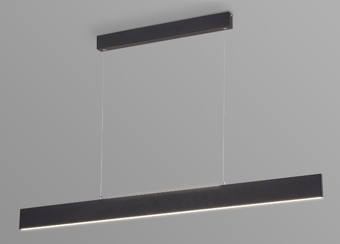 Pendente LED Opus DN34270 Matrix Facho Duplo 30W 3000K IP20 Bivolt 1185x15mm Preto