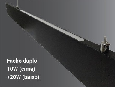 Pendente LED Opus DN34294 Matrix Facho Duplo 30W 3000K IP20 Bivolt 1185x15mm Branco