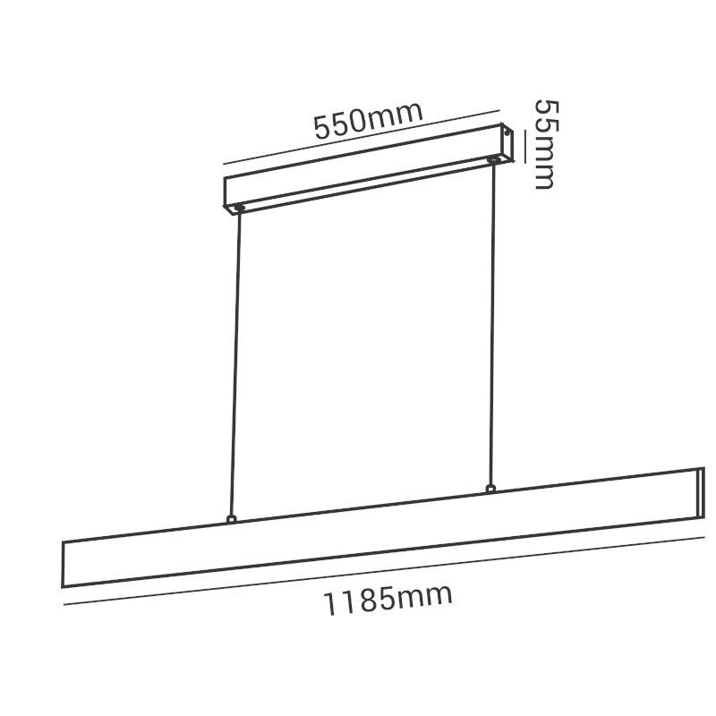 Pendente LED Opus DN34300 Matrix Facho Duplo 30W 4000K IP20 Bivolt 1185x15mm Branco