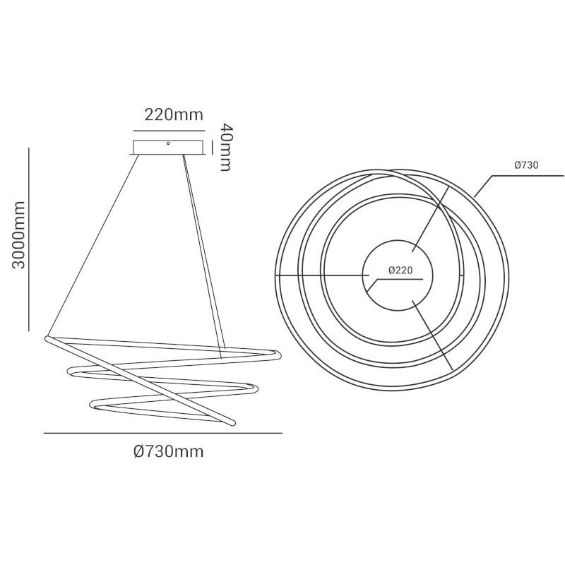 Pendente LED Opus DN34317 Espiral 88W 3000K IP20 Bivolt Ø730mm Preto
