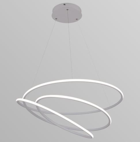 Pendente LED Opus DN34324 Espiral 88W 3000K IP20 Bivolt Ø730mm Branco